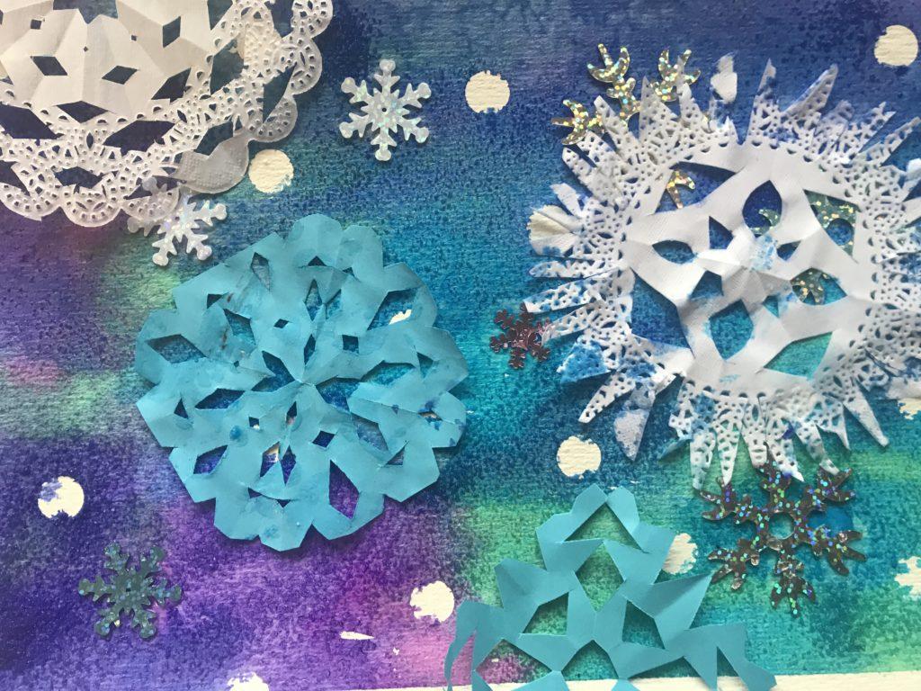 winter schilderij thuis knutselen