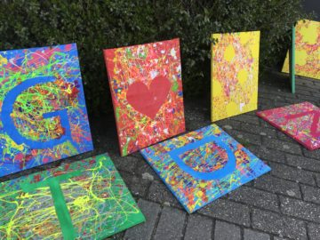 action painting kinderfeestje AlmeloKijk&nDoe