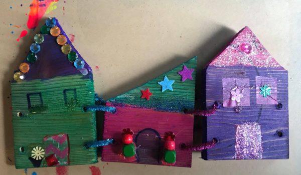 houten huisjes knutselpakket